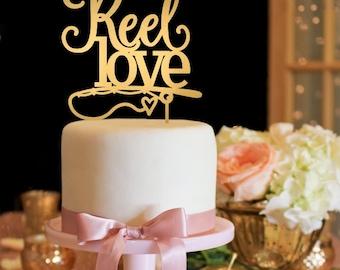 Wedding Cake Topper - Fishing Wedding Cake Topper - Reel Love Cake Topper