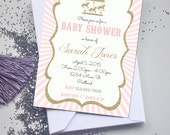 Gold Glitter and Pink Circus Carnival Theme Baby Shower Invitation - Gold and Pink Carousel Invitation or Evite - Girl Baby Shower