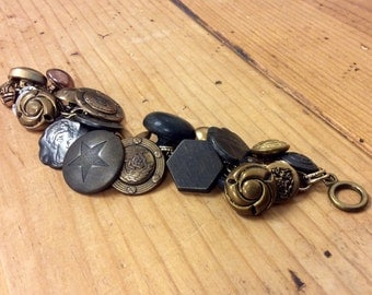 Vintage Mixed Metal Button Bracelet