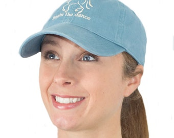 "Dressage Hat, Horse Baseball Cap, ""Begin the Dance"" Equine Design by Sandra Beaulieu, Horse Gift, Equestrian Style, Horse Hat, BLUE"