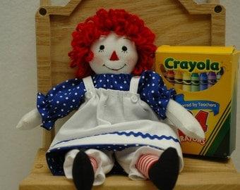 Raggedy Ann doll 9 inch, rag doll handmade