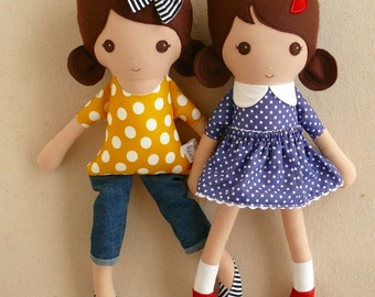 Reserved for Roxy - Six Fabric Dolls Rag Dolls with Brown Hair and Brown Eyes
