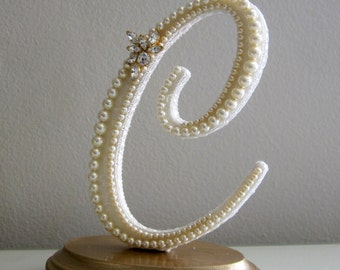 Ivory Pearl Beach Cake Topper, Custom Monogram C, Lace Cake Topper, Gold Cake Topper, Rhinestone Letter, Rustic Chic Wedding, Wedding Topper
