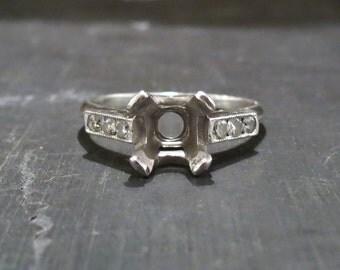 Art Deco Diamond Platinum Setting for 1.5-2.25ct Diamond c. 1940, Antique Setting, Antique Mounting, Vintage Setting, Vintage Mounting