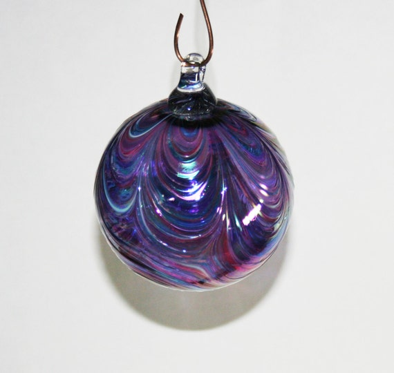 Hand blown glass christmas ornaments white lavender