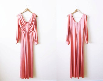70s Dress / 70s Clothing / Maxi Dress / Bohemian Clothing / Peach Pink Long Sleeve Maxi Dress
