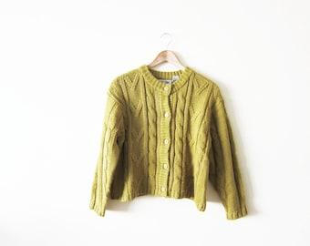 Knit Cardigan / Womens Cardigan / Grunge Cardigan Sweater / Green 90s Cropped Sweater