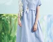 Linen Dress In Blue, Empire Waist Linen Dress, Shirt Tunic Dress, Long Linen Dress, Plus Size Dress , Oversize Dress, Kaftan Dress, Blouse