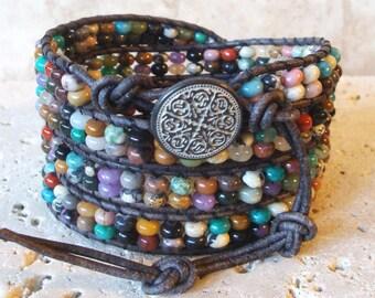 Mix#1 Gemstone Rondelle Beaded Leather 4-Wrap Bracelet