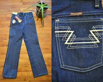 """1970s Deadstock Wrangler Aztec Millrinsed Straight Leg Jeans, NOS 70s Denim Jeans, 26"""" Waist"""