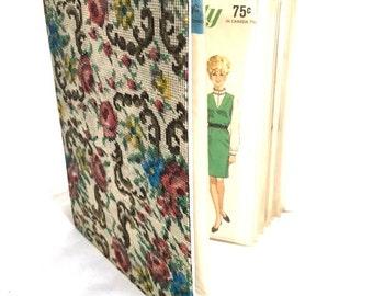 Vintage 60s Vinyl SEWING Pattern Organizer Book