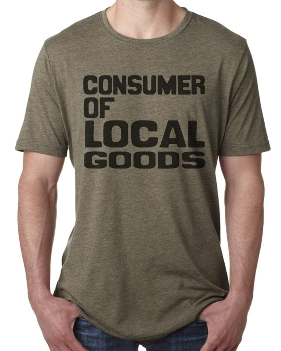 local goods t shirt hand screen printed on a soft fitted