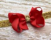 Red boutique bow headband - red baby headband, red & gold headband, gold headband, red hair bows, baby bow headband, Christmas headband