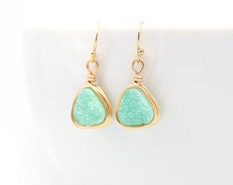 Mint Druzy Earrings | Mint Earrings | Green Earrings | Mint & Gold Earrings | Wire Wrapped Druzy Earrings | Gifts For Her