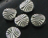 Small Round Swirled Design Pewter Spacer Beads - Nice Detail - Etching on Both Sides - Set of 24
