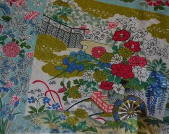Silk fabric piece, vintage Japanese, kimono silk