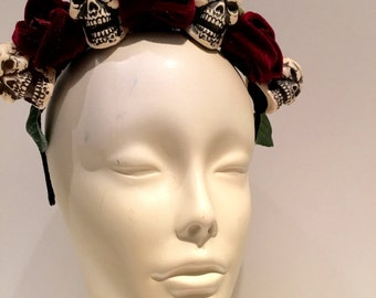 Skull Headband- Velvet Flower-Skull Headpiece-Rose and skull -Flower Headband- HeaddressNY-Made in USA-Day of the Dead-Dia de los Muertos
