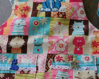 Blue Kitty Pink Patchwork Print Apron
