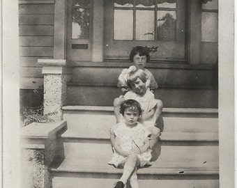 Old Photo Girls in Line on Steps to House 1920s Photograph snapshot vintage