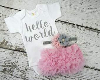 NEWBORN GIRL Coming  Home Outfit / Baby Girl  Hello World  Outfit / Pink Bloomers Pink & Grey Headband Set / Baby Girl Hospital Outfit