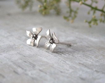 Sterling Silver Stud Earrings, Tiny Silver Stud Earrings, Silver Flower Stud Earrings, Stud Earrings For Women
