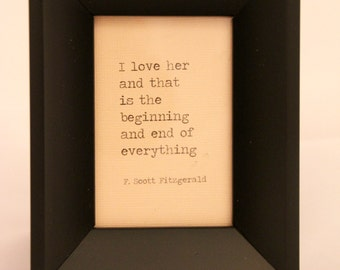 F. Scott Fitzgerald Quote Framed