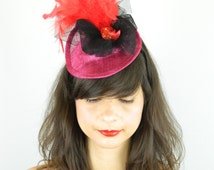 Pillbox Hat Headpiece Cocktail Hat with Peacock Bird in Red Feathers and Glitter with Tulle Veil