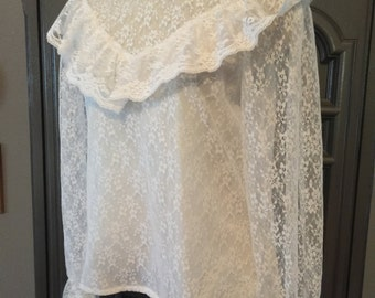 80s Lace Edwardian Look Blouse