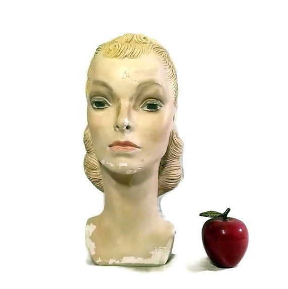 Vintage plaster mannequin head 1940s woman hat display head