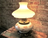 Hurricane Electric Lamp - Antique - White Milk Glass - Electrified Oil Lamp - Floral Glass - Gone With The Wind - Table lamp
