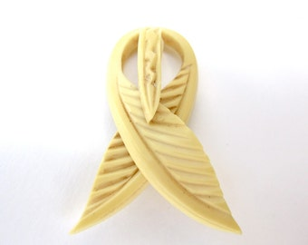 30s Celluloid Brooch - Faux Ivory - Leaves - Carved - Unusual Pin