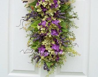 "Hydrangea Wreath Swag ""Purple Fields"", Front Door Swag, Holiday or Every Day"