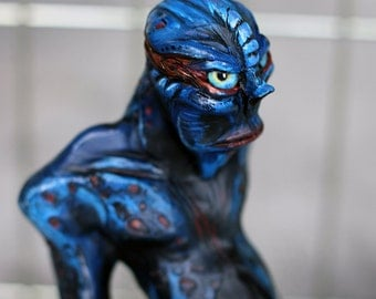 Alien, Creature Design, Polymer Clay Sculpture, Black and Blue, Monster, Polymer Clay, Blue Alien Creature Maquette, Monster Sculpture