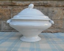 Large White Ironstone Pedestal Tureen with Lid Artichoke Finial Serving Piece English Iron Stone China