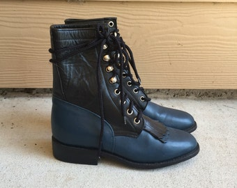Handmade Gorgeous Two Tone Black Blue Leather Southwestern Roper Riding Boots // Women's US 5 5.5 6