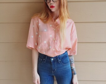 Vintage Peachy Pink Pastel Polka Dot Colorblock Oxford Button Up Shirt // Women's size Medium M