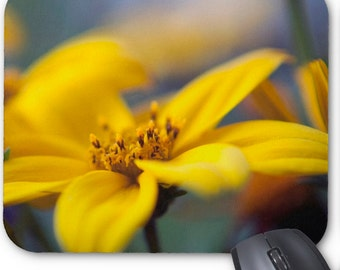 Stunning Custom Mouse Pad with Macro Yellow Flower Photography