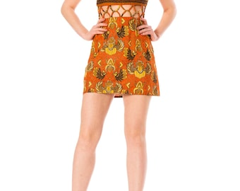 Vintage 1970s Ethnic African Print Macrame Waist Mini Dress  Size: XS
