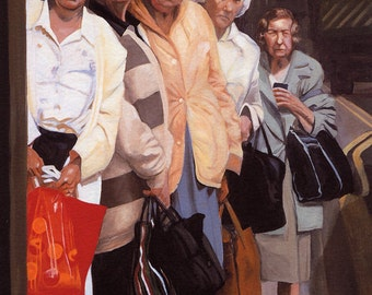Bus stop queue on a Thursday morning, oil on panel Giclée print