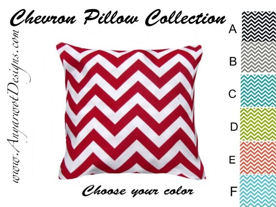 "Chevron  PILLOW COVER-Zigzag Pillow Cover-Red , Blue Black , Coral, Green, Chevron Pillow Cover. Blue Chevron-16"",17"",18"",20"" 24"" 26"","