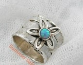 Floral opal silver ring. Sterling silver opal ring. Silver flower ring. Opal floral ring. Wide silver ring (sr-9551-509) opal jewelry