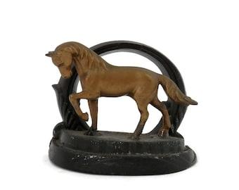 Nuart Horse Bookend Brass Prancing Pony on Black Base