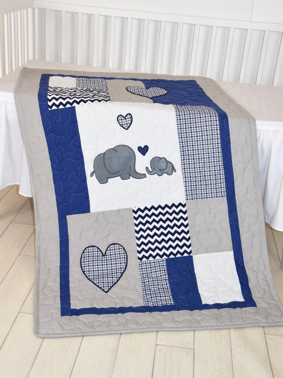 Elephant Baby Blanket, Navy Gray Crib Quilt, Chevron  Kids Bedding, Toddler Patchwork Bespread