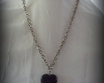 Black Stone Heart Necklace on Vintage Silver Rolo Chain