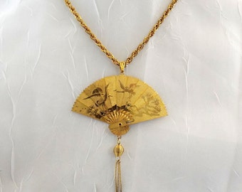 Vintage Asian Fan Articulating Gold Necklace Dragon and Birds Reversible