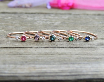 """Birthstone Ring with Tiny """"Diamond"""" Moissanite Accent- Birthstone of your Choice -  14k Yellow, White or Rose Gold, Handmade to Order"""