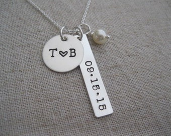 Personalized Wedding Date Necklace - Hand Stamped Couples Necklace - Wedding Gift for Bride