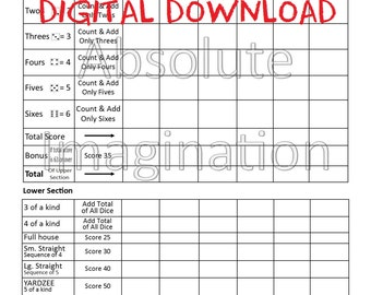 SALE! PRINTABLE. Yardzee Score Card. Yardzee Board. Lawn Yahtzee Score Card. Digital Download