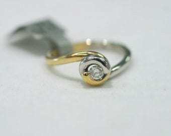 Custom Engagement Ring Tension Set Solitaire Swirl Design Two Tone White and Yellow Gold Contemporary Ring