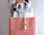 Hello, February Top Handle bag, coral and cream color small purse